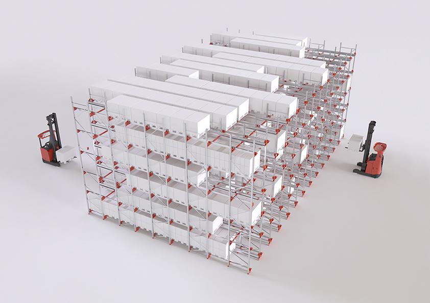 Radioshuttle™ systém je ve FIFO layoutu zvýší průtočnost skladu