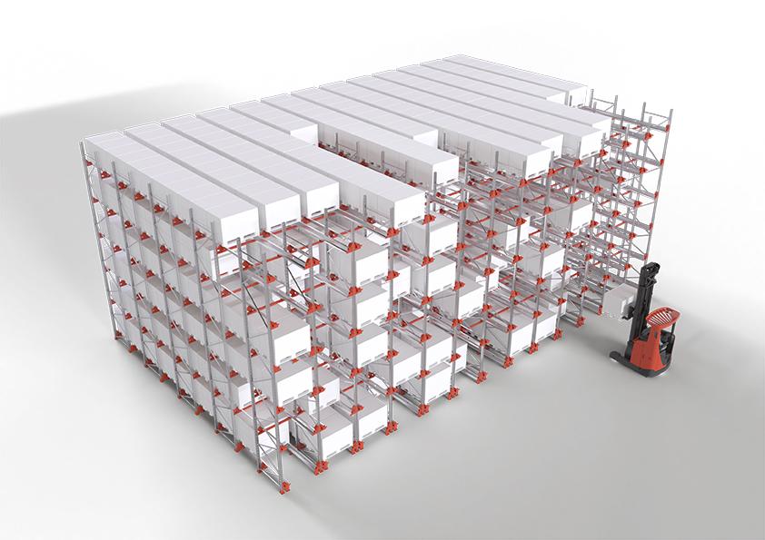 Radioshuttle™ systém ve FILO layoutu uskladní víc položek a SKU a zvýší kapacitu skladu